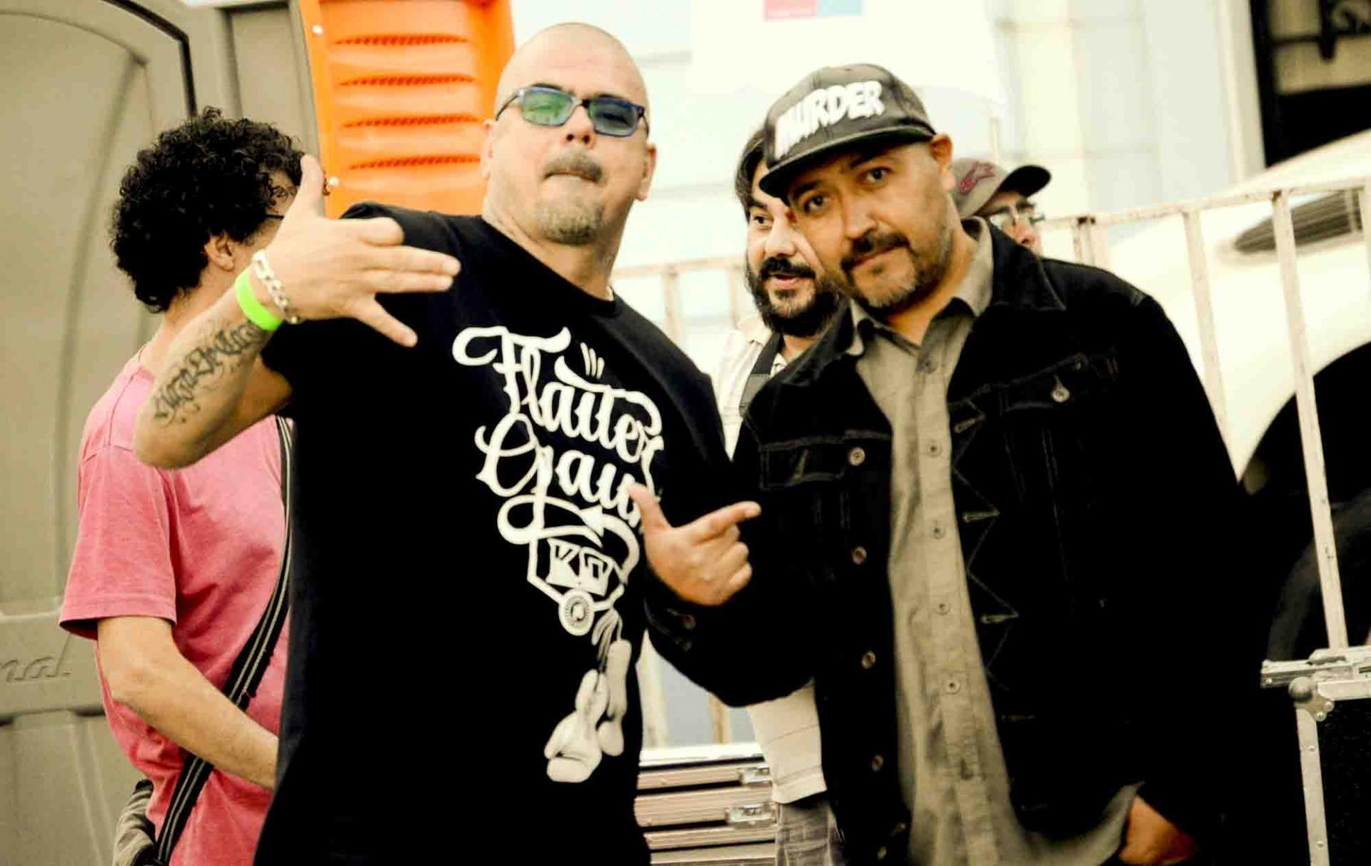Jimmy Fernández (La Pozze Latina) y Lalo Meneses (Panteras Negras). Dos figuras del hip hop chileno.