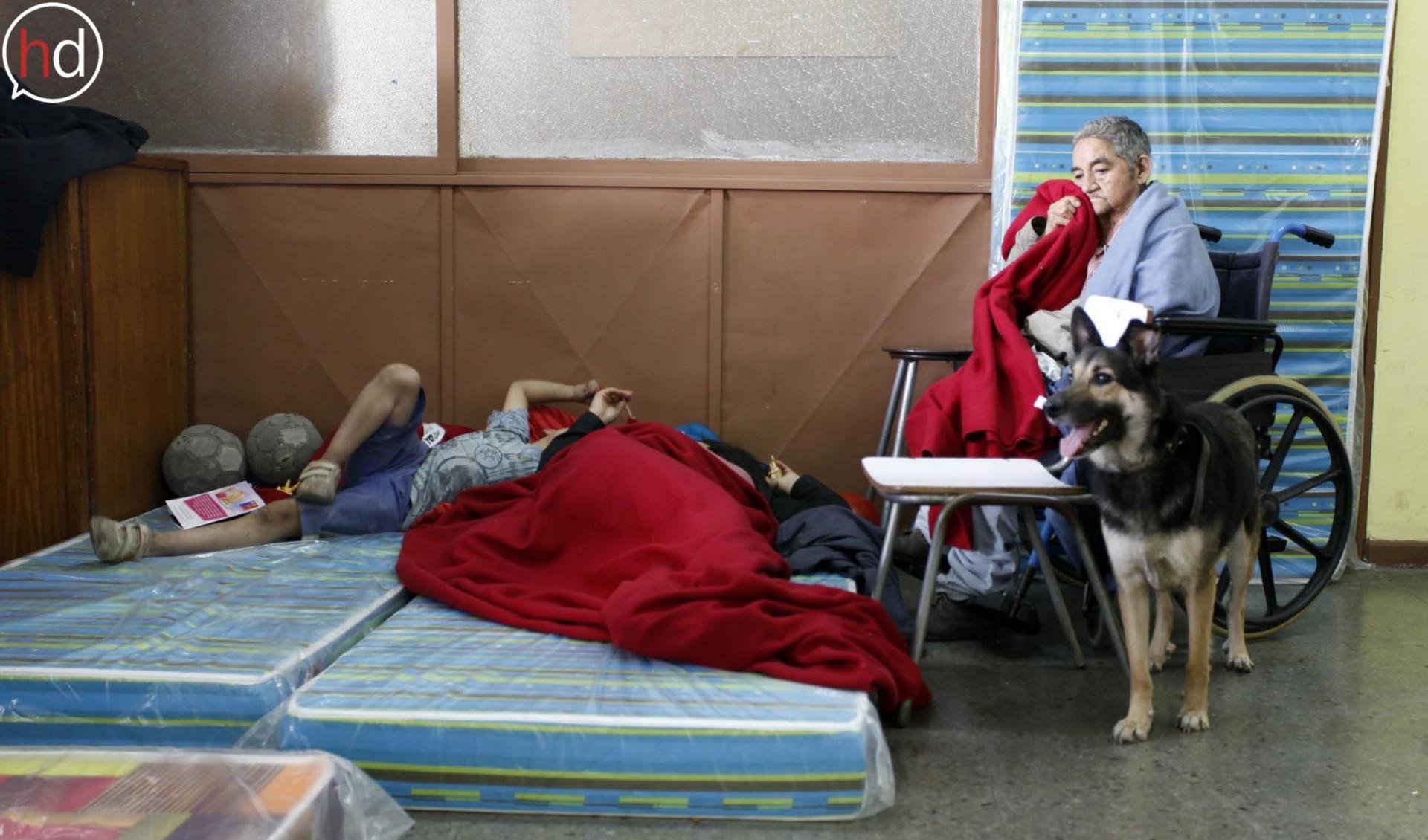 En el albergue habilitado en la Escuela Grecia conviven ancianos, niños y mascotas que huyeron del fuego y lo perdieron todo.
